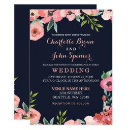 Navy Peach Floral Wedding Invitations