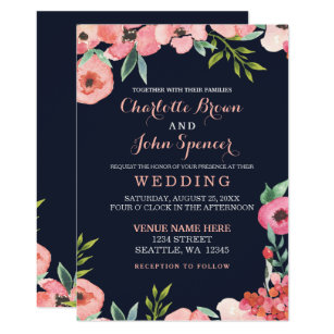 225da70ac50 Romantic Floral Navy Blue Peach Wedding invitation