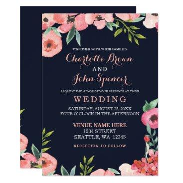 Romantic Floral Navy Blue Peach Wedding invitation