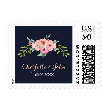 Romantic Floral Navy Blue Peach Wedding postage