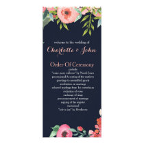 Romantic Floral Navy Blue Peach Wedding programs
