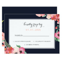 Romantic Floral Navy Blue Peach Wedding rsvp Card
