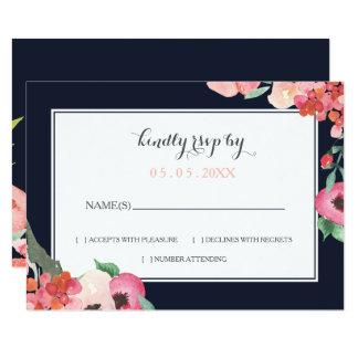 Romantic Floral Navy Blue Peach Wedding rsvp Card