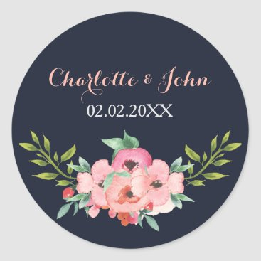 Romantic Floral Navy Blue Peach Wedding stickers