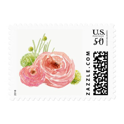 Romantic Floral Painting Wedding Stamps