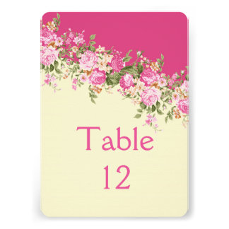 Romantic Floral Pink Bouquet Table card