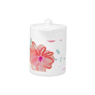 Romantic Floral Pink Watercolor Cool & Elegant for Teapot