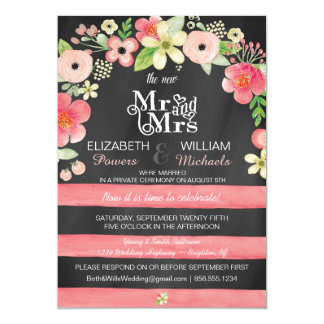 Romantic Floral Post Wedding Reception Only Invite