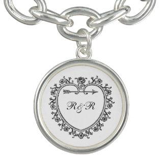 Romantic Floral Scroll Heart Wedding Monogram Charm Bracelet