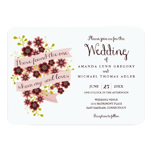 Romantic Floral Song Of Solomon Wedding Invitation