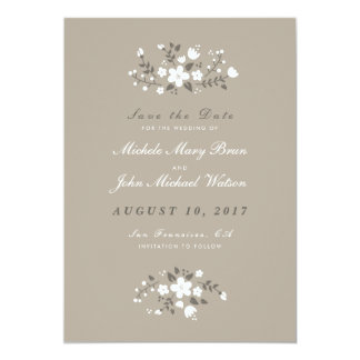 Romantic Floral Stylish Save The Date Flat Card