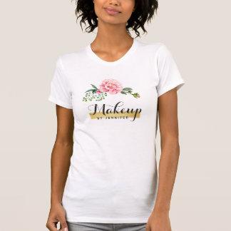 Romantic Floral Typography Script Text Gold Stripe T-Shirt