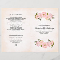 Romantic Floral Watercolor Folded Wedding Programs