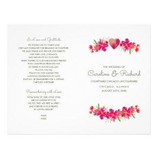 Romantic Floral Watercolor Wedding Programs