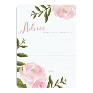 "Romantic Floral Wedding Advice Cards 5"" X 7"" Invitation Card"