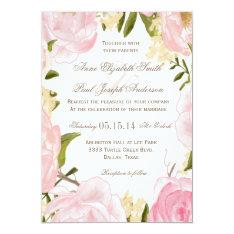 """Romantic Floral wedding invitation 5"""" X 7"""" Invitation Card at Zazzle"""