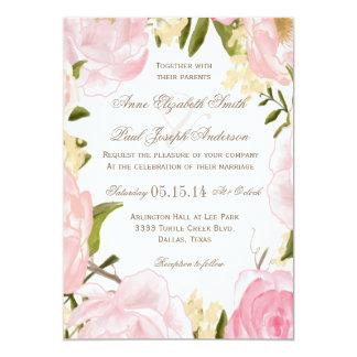 "Romantic Floral wedding invitation 5"" X 7"" Invitation Card"