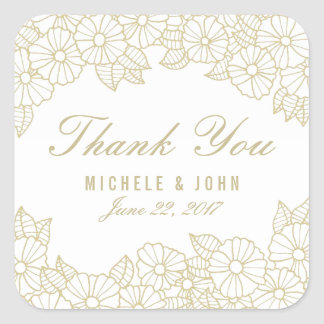 Romantic Floral Wedding Thank You Favors Stickers