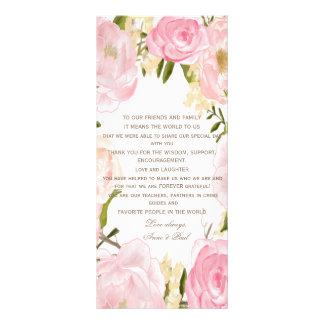 Romantic floral Wedding Thank you Program