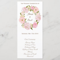 Romantic floral wreath monogram program