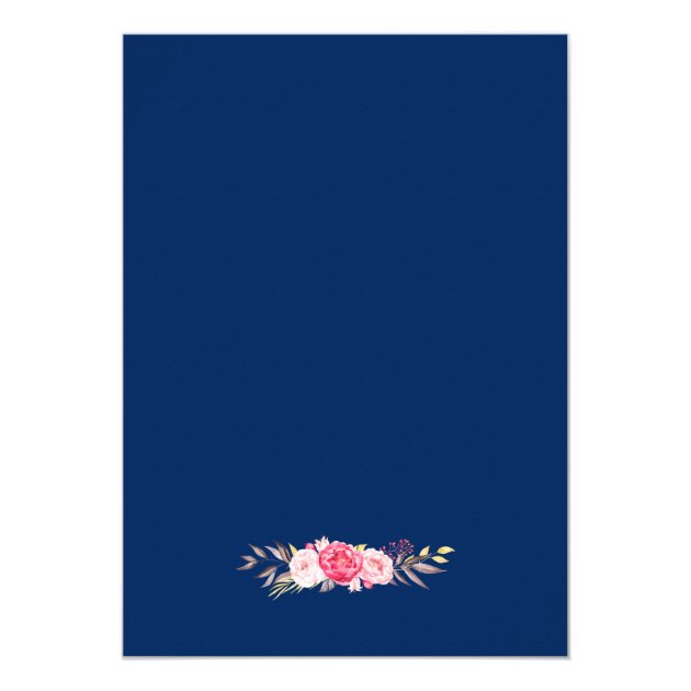 Romantic Floral Wreath Navy Blue Birthday Party Card (back side)