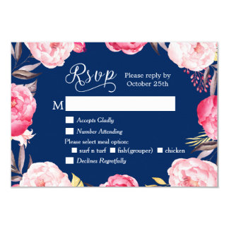 Romantic Floral Wreath Navy Blue RSVP Reply Card
