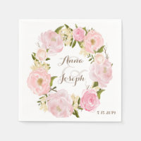 Romantic Floral Wreath Wedding Napkin