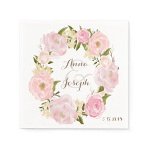 Romantic Floral Wreath Wedding Napkin Standard Cocktail Napkin