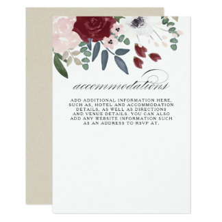 Romantic Florals Accommodations Card