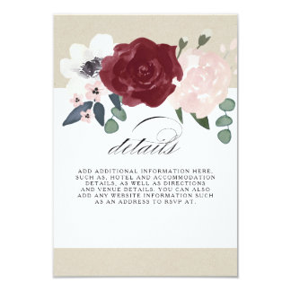 Romantic Florals Information Card