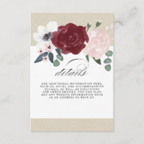 Romantic Florals Information Enclosure Card