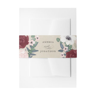 Romantic Florals Invitation Belly Band