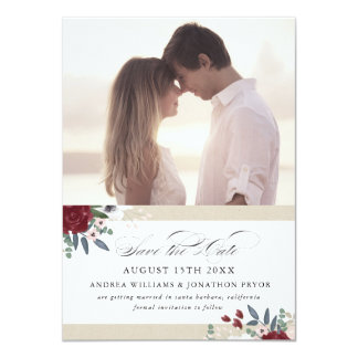 Romantic Florals Save the Date Card