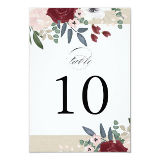 Romantic Florals Table Number Card