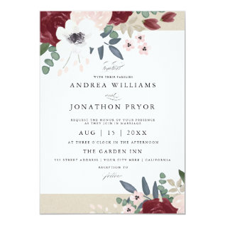 Romantic Florals Wedding Invitation at Zazzle