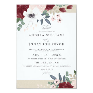 Floral wedding invitations announcements zazzle for Floral wedding invitations canada