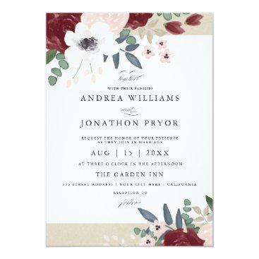 Whimzy_Designs Romantic Florals Wedding Invitation