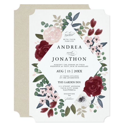 romantic florals wedding invitation zazzle com