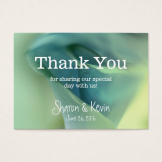 romantic flower in blue tones thank you business card