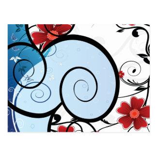 Romantic Flower Swirls In Blue & Red Post Card