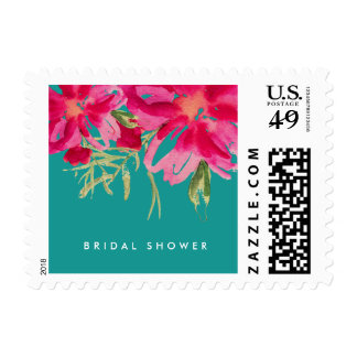 Romantic Flowers Bridal Shower Postage Stamps