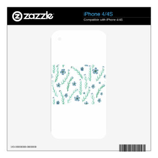 Romantic flowers in green and blue tones decals for the iPhone 4S