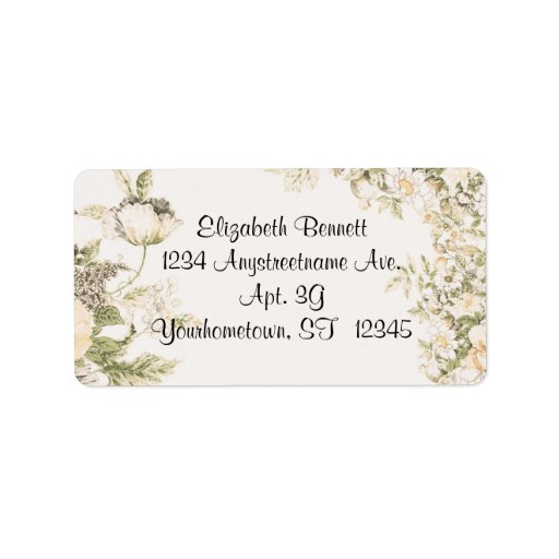 Romantic Flowers Label