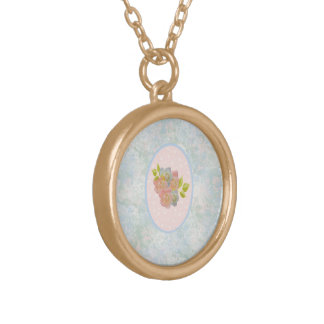 Romantic flowers round pendant necklace