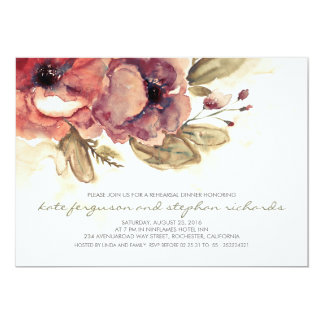 Romantic Flowers Vintage Rehearsal Dinner Card