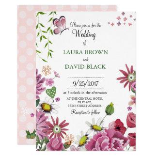 Romantic Flowers   Wedding Invitation