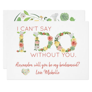 Romantic flowers will you be my bridesmaid card