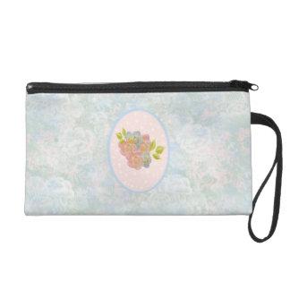 Romantic flowers wristlet purse