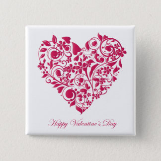 Romantic flowery red Valentine´s Day Heart Pinback Button