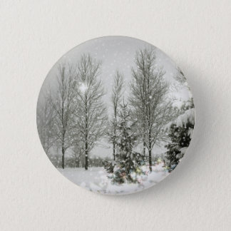 Romantic Forest Christmas trees Winter Wedding Button